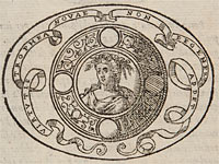 A shield with a girl crowned with a laurel wreath